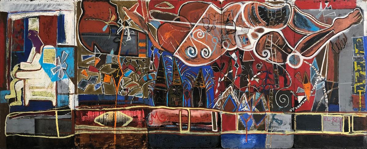 Art work by Alberto Mijangos, El Rey, painting, 48 x 120 in