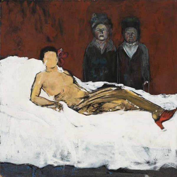 Art work by Alberto Mijangos, King William couple (Olympia series), painting, 48 x 48 in
