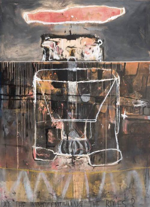Art work by Alberto Mijangos, The awakening, chónes series, painting, 108 x 80 in