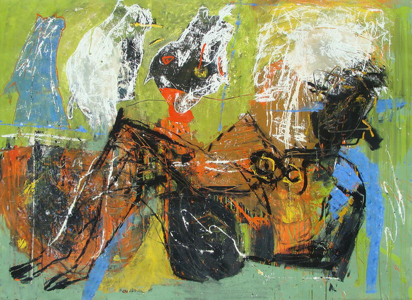 Art work by Alejandro Santiago, Horses, painting, 150 x 200 cm