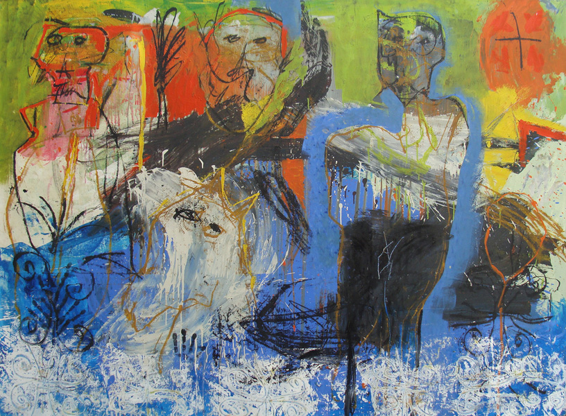 Art work by Alejandro Santiago, Caras (Faces), painting, 150 x 200 cm