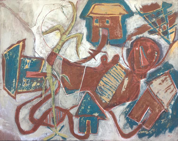 Art work by Alejandro Santiago, Little Town, painting, 120 x 150 cm