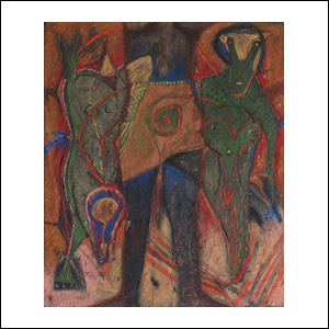 Art work by Alejandro Santiago, Untitled, 1996, painting, 47 1/4 x 39 1/4 inches (120 x 100 cm)