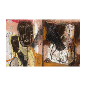 Art work by Alejandro Santiago, Untitled, (diptych), painting, 39.5 x 55 in (100 x 142 cm)