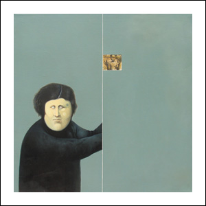 Art work by Alfredo Castañeda, ¿Y a qué jugamos?, painting, 31 1/2 x 31 1/2 inches (80 x 80 cm)