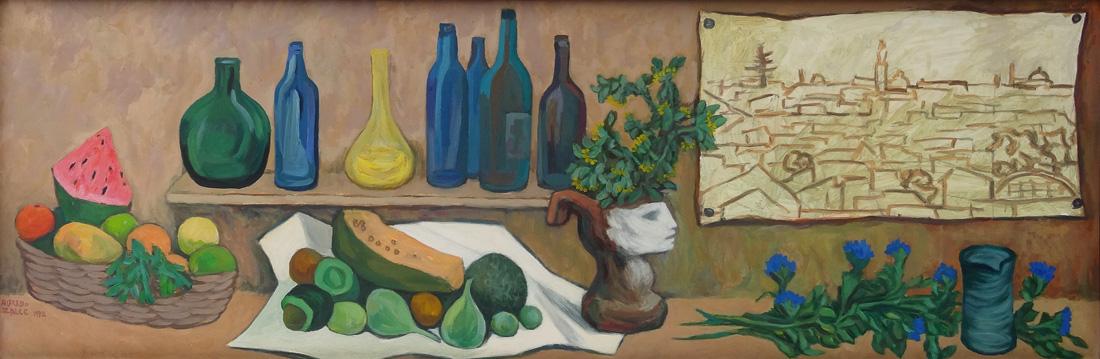 Art work by Alfredo Zalce, Still Life (Bodegón), painting, 25.5 x 74.75 in (65 x 190 cm)