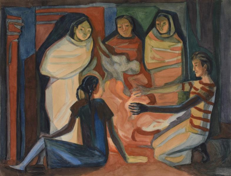 Art work by Alfredo Zalce, La fogata (The Campfire), painting, 16.75 x 22 in (42.6 x 55.6 cm)