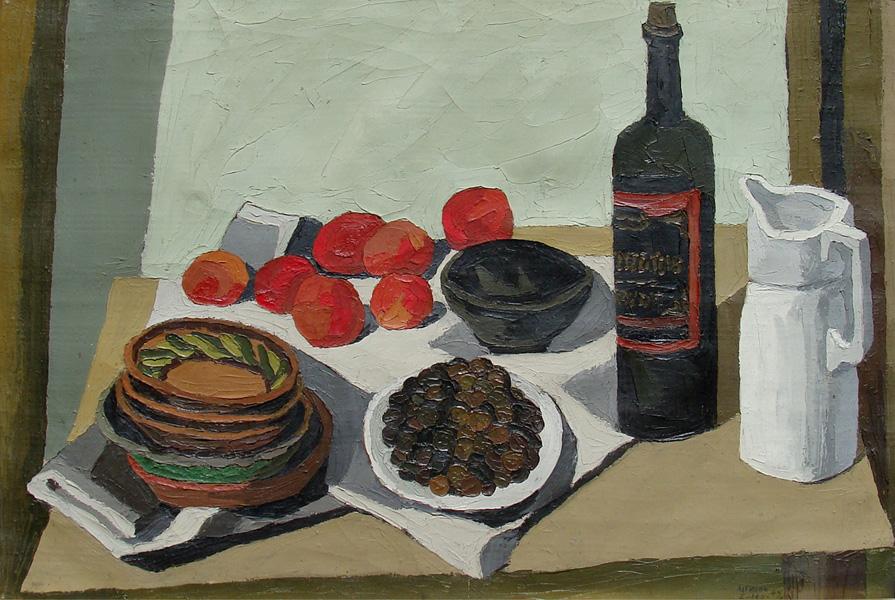 Art work by Alfredo Zalce, Naturaleza Muerta con Botella Negra, painting, 59 x 86 cm