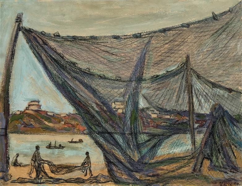 Art work by Alfredo Zalce, Pueblo de Pescadores (Fishermen Town), painting, 19 1/2 X 25 1/2 IN (49.8 x 65 cm)