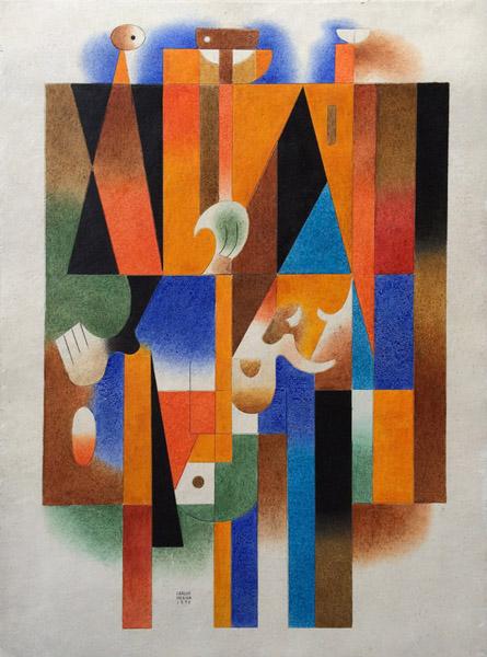 Art work by Carlos Merida, El Agorero (The Soothsayer), painting, 30 x 22 in (76 x 56 cm)