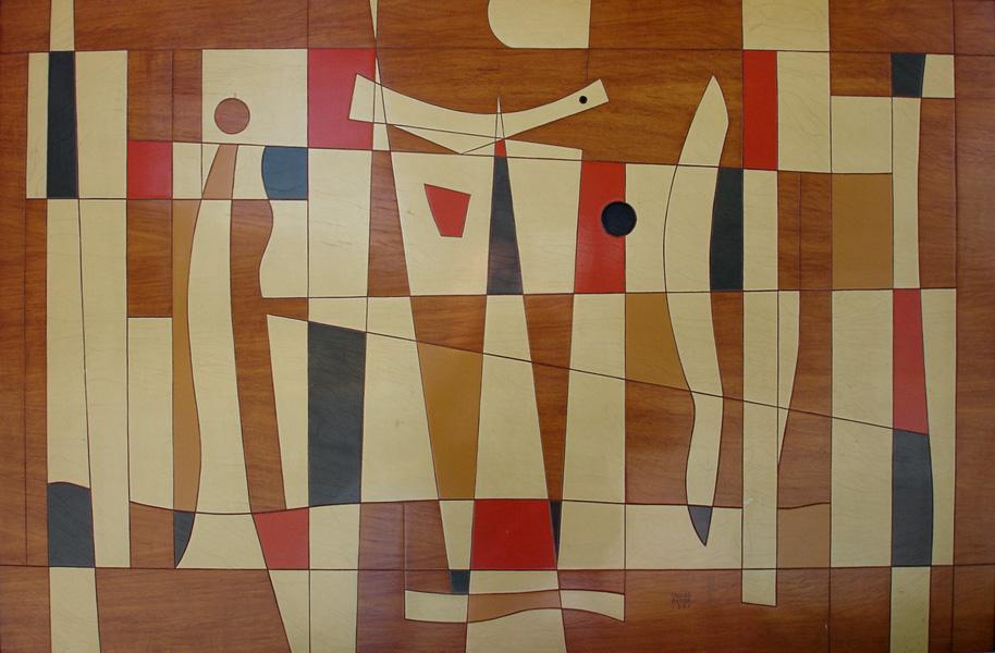 Art work by Carlos Merida, El Pajaro y la Roca, painting, 58.5 x 90 cm