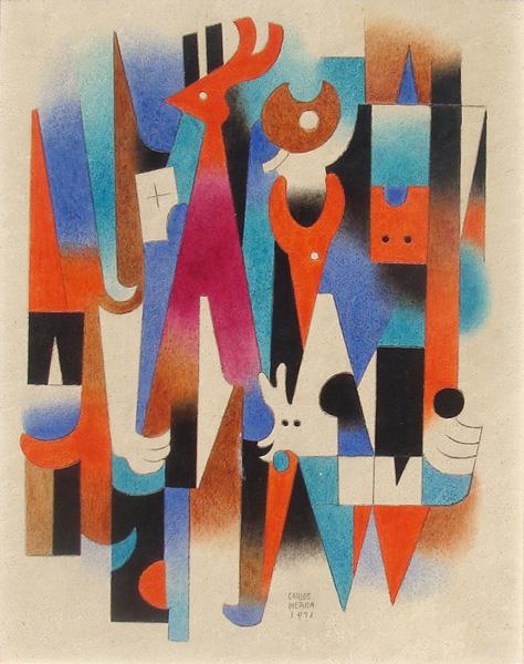 Art work by Carlos Merida, El Venado y las Fieras, painting, 18 x 14 inches (46 x 36 cm)
