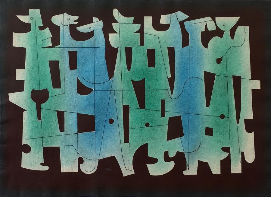 Art work by Carlos Merida, Tierra Húmeda, painting, 22 1/4 x 31 in (56.5 x 78.5 cm)