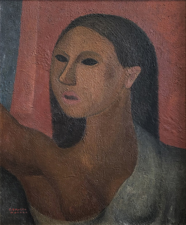 Art work by Carlos Orozco Romero, Bust of Woman, painting, 19 1/2 x 15 3/4 inches (50 x 40 cm)