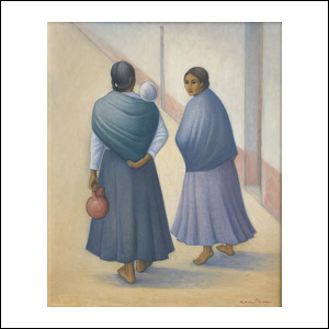 Art work by Carlos Orozco Romero, Two Women, painting, 23 1/2 x 19 1/4 inches (59 x 49 cm)