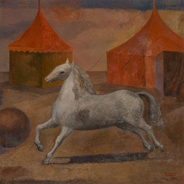 Art work by Carlos Orozco Romero, La Fuga, painting, 27 1/2 x 27 1/2 in (70 x 70 cm)