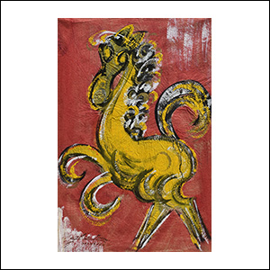 Art work by Chucho Reyes, Yellow Horse, painting, 29.5 x 19.3 in (75 x 49.5 cm)