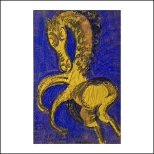 Art work by Chucho Reyes, Yellow Horse on Blue, painting, 74 x 48 cm
