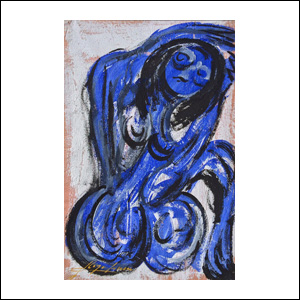 Art work by Chucho Reyes, Blue Nude, painting, 29.5 x 19.3 in (75 x 49 cm)