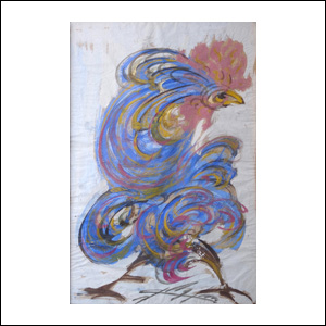 Art work by Chucho Reyes, Blue Rooster, painting, 29 x 19 inches (75 x 49 cm)