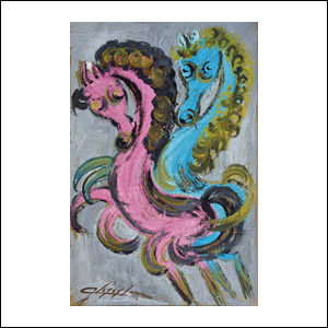 Art work by Chucho Reyes, Couple of Horses, painting, 29.5 x 19.3 in (75 x 49.5 cm)