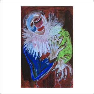 Art work by Chucho Reyes, Clown with White Collar, painting, 29.5 x 19.3 in (75.3 x 49 cm)