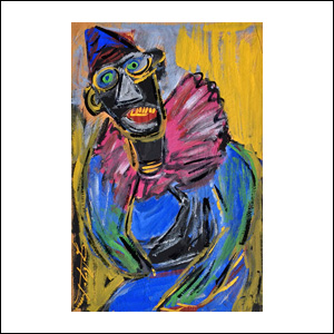Art work by Chucho Reyes, Clown with Pink Collar, painting, 29.5 x 19.3 in (75.3 x 49.2 cm)