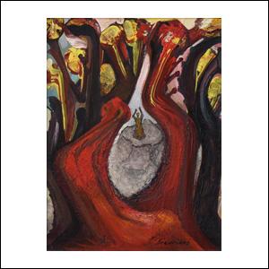 Art work by David Alfaro Siqueiros, Kaktos (Cactaceas), painting, 23.6 x 17.9 in (60.6 x 45.5 cm)