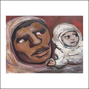Art work by David Alfaro Siqueiros, Fighter's Woman (La mujer del combatiente), painting, 23.6 x 31.9 in (60 x 81 cm)