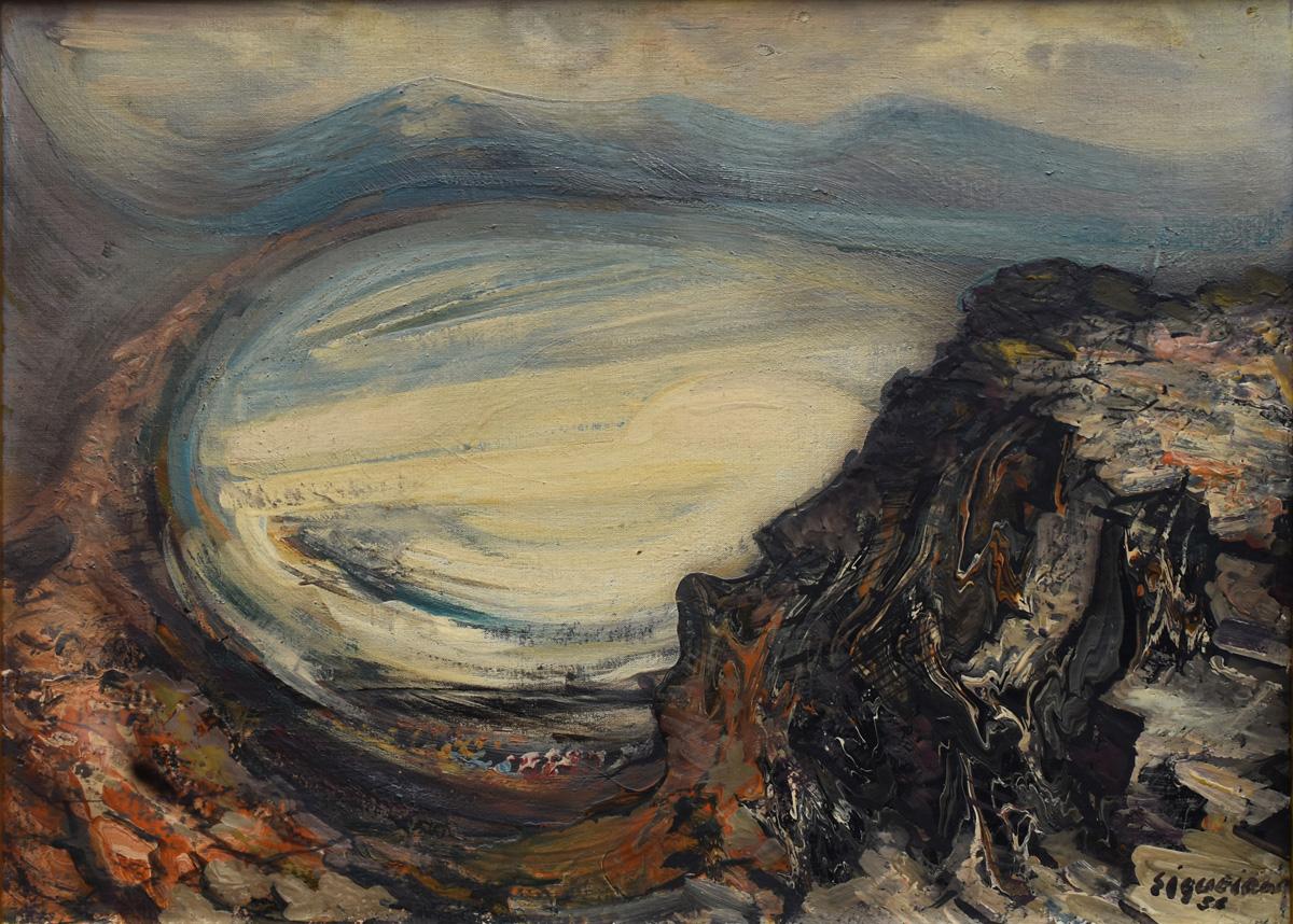 Art work by David Alfaro Siqueiros, Vista de la Bahia de Puerto Marques, painting, 22 x 30 inches (56 x 76 cm)