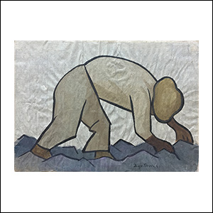 Art work by Diego Rivera, Farmer, painting, 11 x 15 1/2 inches (28.2 x 39.2 cm)