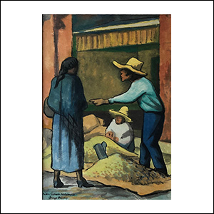 Art work by Diego Rivera, The Merchant, painting, 15 x 10 1/2 inches (38.4 x 26.8 cm)