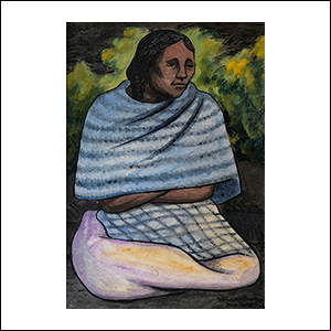 Art work by Diego Rivera, Seated woman with Shawl, painting, 15 x 10 1/2 inches (38.4 x 26.8 cm)