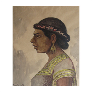 Art work by Diego Rivera, Woman of Tehuantepec, painting, 23 1/2 x 19 inches (60 x 48 cm)