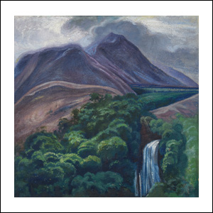 Art work by Dr. Atl, Landscape with waterfall and mountains, painting, 39 3/4 x 40 in (101 x 102 cm)