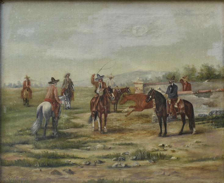 Art work by Ernesto Icaza, Alfonso Yslas Escandon montando al Viento, painting, 20 x 25.5 in (51 x 65 cm)