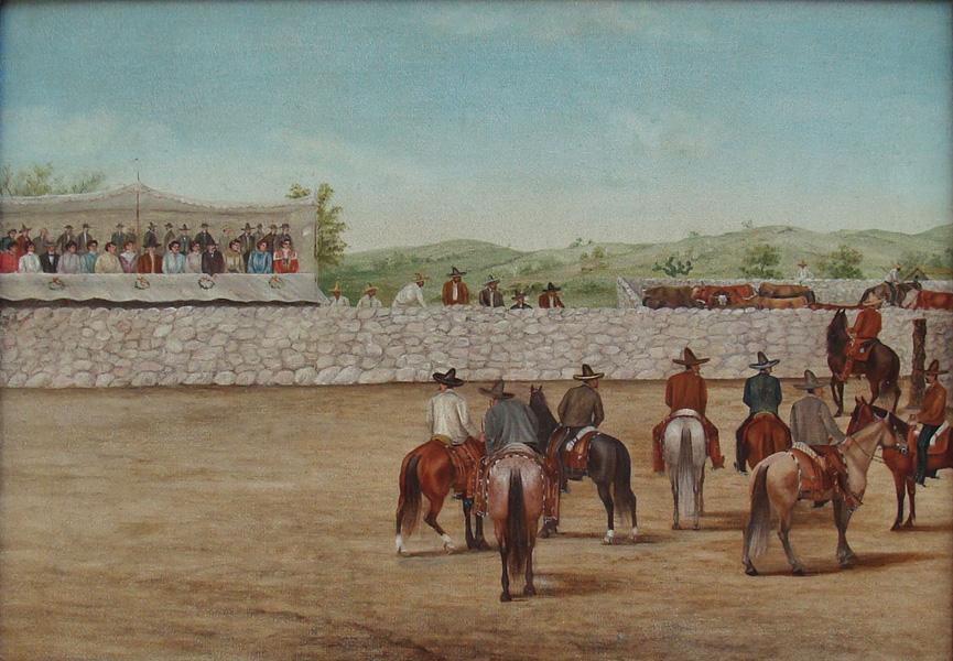 Art work by Ernesto Icaza, Dia de Fiesta, painting, 15.5 x 21.25 in (39.5 x 54.3 cm)