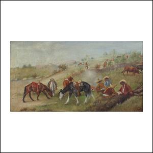 Art work by Ernesto Icaza, Grupo de vaqueros almorzando, painting, 10 x 17.75 in (25.5 x 45 cm)