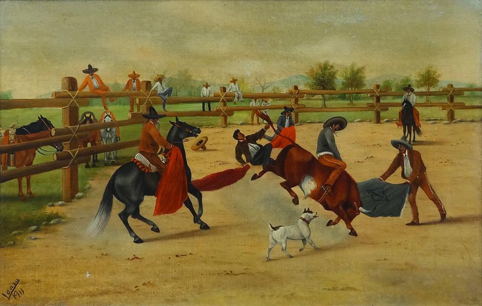 Art work by Ernesto Icaza, Jineteando un toro bravo, painting, 15 1/4 x 23 1/2 inches (39 x 60 cm)