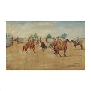 Art work by Ernesto Icaza, Lazando un caballo, painting, 23 1/2 x 37 1/2 inches (60 x 95 cm)