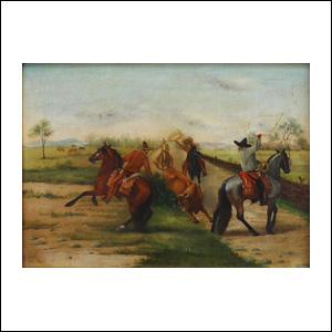 Art work by Ernesto Icaza, Manganeando a campo abierto, painting, 18 x 24 inches (46 x 61 cm)
