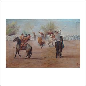 Art work by Ernesto Icaza, Preparandose para ternear, painting, 16.2 x 24 in (41 x 61 cm)