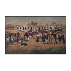Art work by Ernesto Icaza, Un domingo en una finca pulquera del Estado de Hidalgo, painting, 23.5 x 37.5 in (60 x 95 cm)