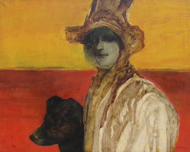 Art work by Francisco Corzas, Damsell and her dog, painting, 39.5 x 47.25 in (100 x 125 cm)