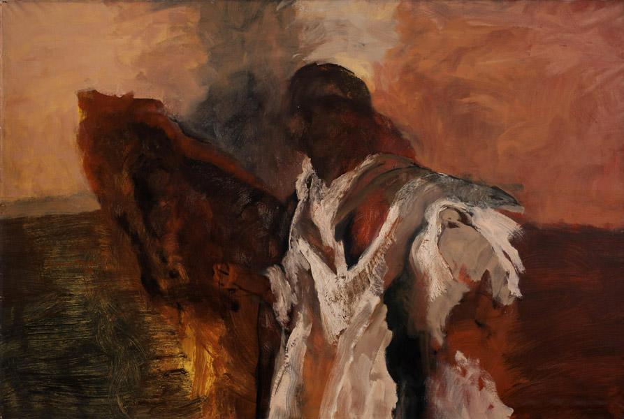 Art work by Francisco Corzas, Transhumant (Trashumante), painting, 78.75 x 118 in (200 x 300 cm)