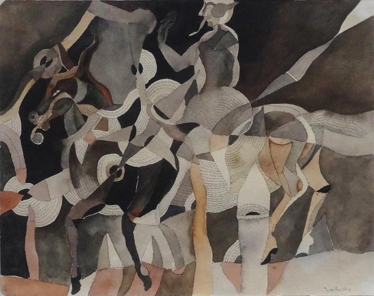 Art work by Francisco Toledo, El caballo Va Cantando, painting, 24.3 x 31 cm