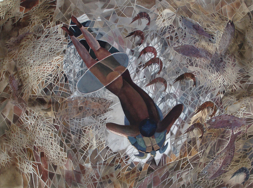 Art work by Francisco Toledo, Hombre con Tortuga, painting, 56 x 75 cm