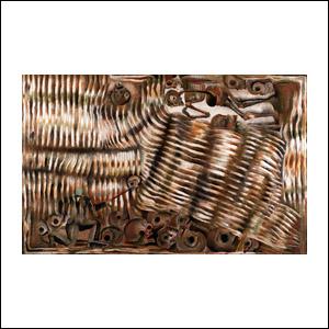 Art work by Francisco Toledo, Juarez Atraviesa el Rio de las Calaveras Rodantes, painting, 64.5 x 102 cm