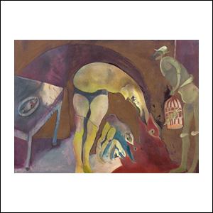 Art work by Francisco Toledo, La cena, painting, 21.5 x 30.3 in (55 x 77 cm)
