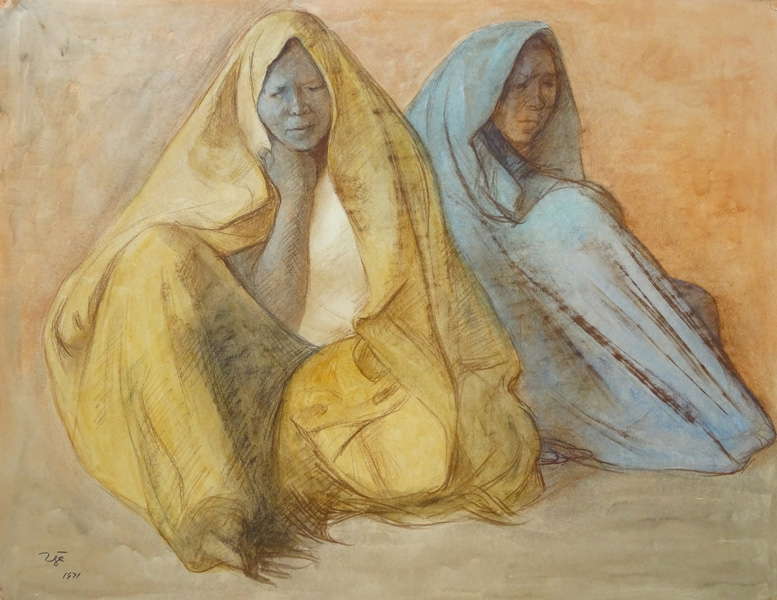 Art work by Francisco Zuñiga, Two Seated Woman with Shawl, painting, 19 1/2 x 25 1/2 inches (50 x 65 cm)